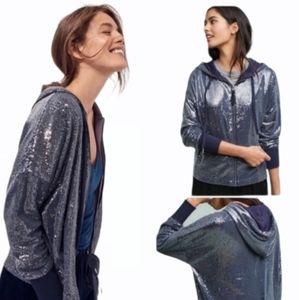 Postmark Anthropologie Sequin Hoodie Jacket Blue Size M